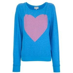 Wildfox Heart Sweatshirt In Blue Crewneck